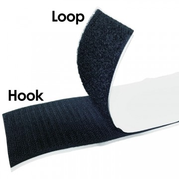 Hook & Loop Tape / Velcro Tape (Black Adhesive) (ROLL)